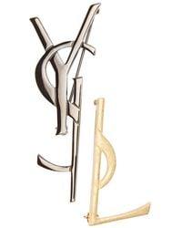 Saint Laurent - Gold And Gunmetal Deconstructed Monogram Brooch Set - Lyst