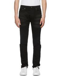 Valentino - Black Slit Knees Skinny Jeans - Lyst