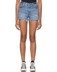 Levi's - Blue Wedgie Distressed Denim Shorts - Lyst