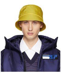 Prada - Yellow Logo Bucket Hat - Lyst