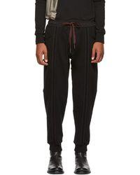 d5ca28842286ed Ziggy Chen - Black Vertical Stripe Lounge Trousers - Lyst