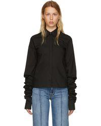 MM6 by Maison Martin Margiela - Black Parachute Poplin Extra Long Sleeve Shirt - Lyst