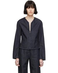 Lemaire - Ssense Exclusive Navy Fitted Zip Jacket - Lyst