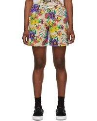 Noah - Beige And Multicolour Floral Rugby Shorts - Lyst