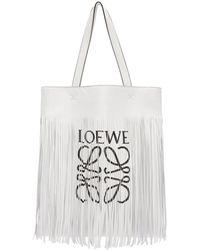 Loewe - White Vertical Fringe Tote - Lyst