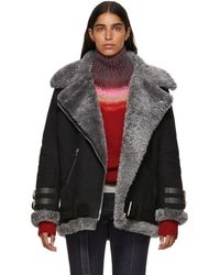 Acne Studios - Black Suede And Shearling Velocite Jacket - Lyst