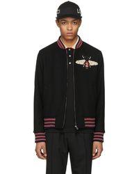 Gucci - Black Bee Bomber Jacket - Lyst