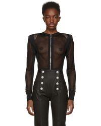 Balmain   Black Mesh Bodysuit   Lyst