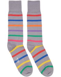 Paul Smith - Grey Bright Stripe Socks - Lyst