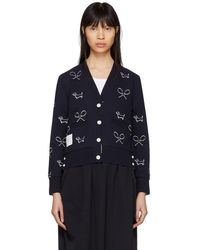Thom Browne - Navy Classic Pique Shadow Embroidery Cardigan - Lyst