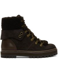 See By Chloé - Grey And Brown Eileen Lace-up Boots - Lyst