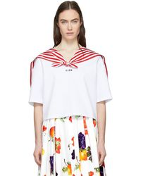 MSGM - White Cropped Sailor T-shirt - Lyst