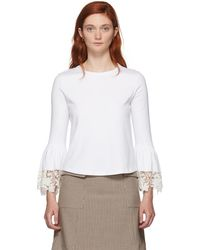 See By Chloé - White Lace Wrist Loose Fit T-shirt - Lyst