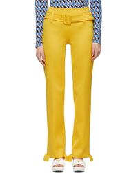 Prada - Yellow Ruffled Belted Trousers - Lyst