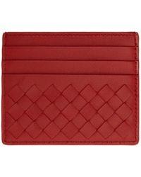 Bottega Veneta - Red Intrecciato Card Holder - Lyst