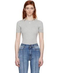 Courreges - Silver Ribbed Mock Neck Sweater - Lyst