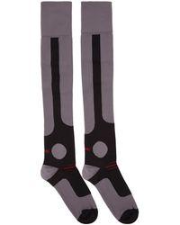 Miu Miu - Purple And Black Over-the-knee Logo Socks - Lyst