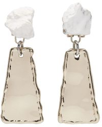 Proenza Schouler - Gold And White Small Hammered Dangle Earrings - Lyst