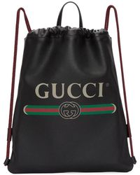 Gucci - Black Leather Logo Drawstring Backpack - Lyst