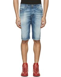 DIESEL - Blue Denim Thashort Shorts - Lyst