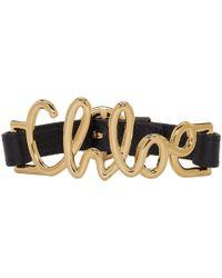 Chloé - Black Leather Logo Bracelet - Lyst