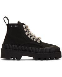 Proenza Schouler - Canvas Lace Up Ankle Boots - Lyst