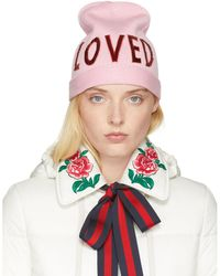 Gucci   Pink Wool 'loved' Beanie   Lyst