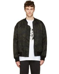 T By Alexander Wang - Green Camo Back Insert Bomber Jacket - Lyst