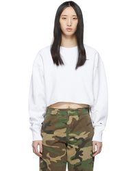 Champion - White Cropped Cut-off Sweatshirt - Lyst