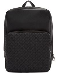 Bottega Veneta - Black Intrecciato Deerskin Backpack - Lyst