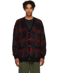 COACH - Black And Red Mohair Plaid Cardigan - Lyst
