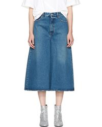MM6 by Maison Martin Margiela - Indigo Cropped Wide-leg Jeans - Lyst