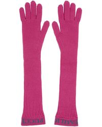 Emilio Pucci - Pink Ribbed Wool Gloves - Lyst