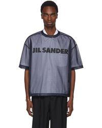 Jil Sander | Navy Mesh Logo T-shirt | Lyst