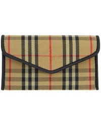 Burberry - Beige And Black 1983 Check Small Card Holder - Lyst