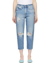 FRAME - Blue Le Stevie Crop Jeans - Lyst