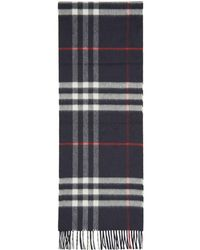 Burberry - Navy Cashmere Giant Check Scarf - Lyst