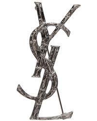 Saint Laurent - Silver Croc Opyum Brooch - Lyst