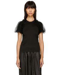 Noir Kei Ninomiya - Black Tulle Sleeve T-shirt - Lyst