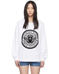 Balmain - White Flocked Coin Sweatshirt - Lyst