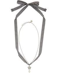 Miu Miu - Silver Star And Pearl Charm Necklace - Lyst