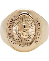 Alexander McQueen - Gold Skull Medallion Ring - Lyst