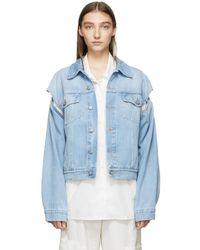 MM6 by Maison Martin Margiela - Blue Denim Convertible Jacket - Lyst