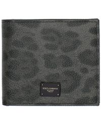 Dolce & Gabbana - Grey And Black Leopard Logo Wallet - Lyst