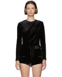 Unravel - Black Velvet Draped Bodysuit - Lyst