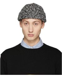 Junya Watanabe - Black And White Thick Mottled Beanie - Lyst