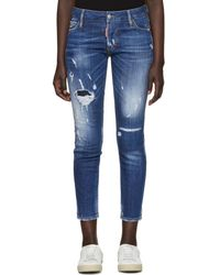 DSquared² - Blue Super Skinny Cropped Jeans - Lyst
