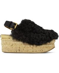 Chloé - Black Shearling Camille Sandals - Lyst