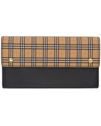Burberry - Black And Beige Small Scale Check Harris Wallet - Lyst