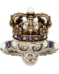Alexander McQueen - Silver And Gold King Ring - Lyst